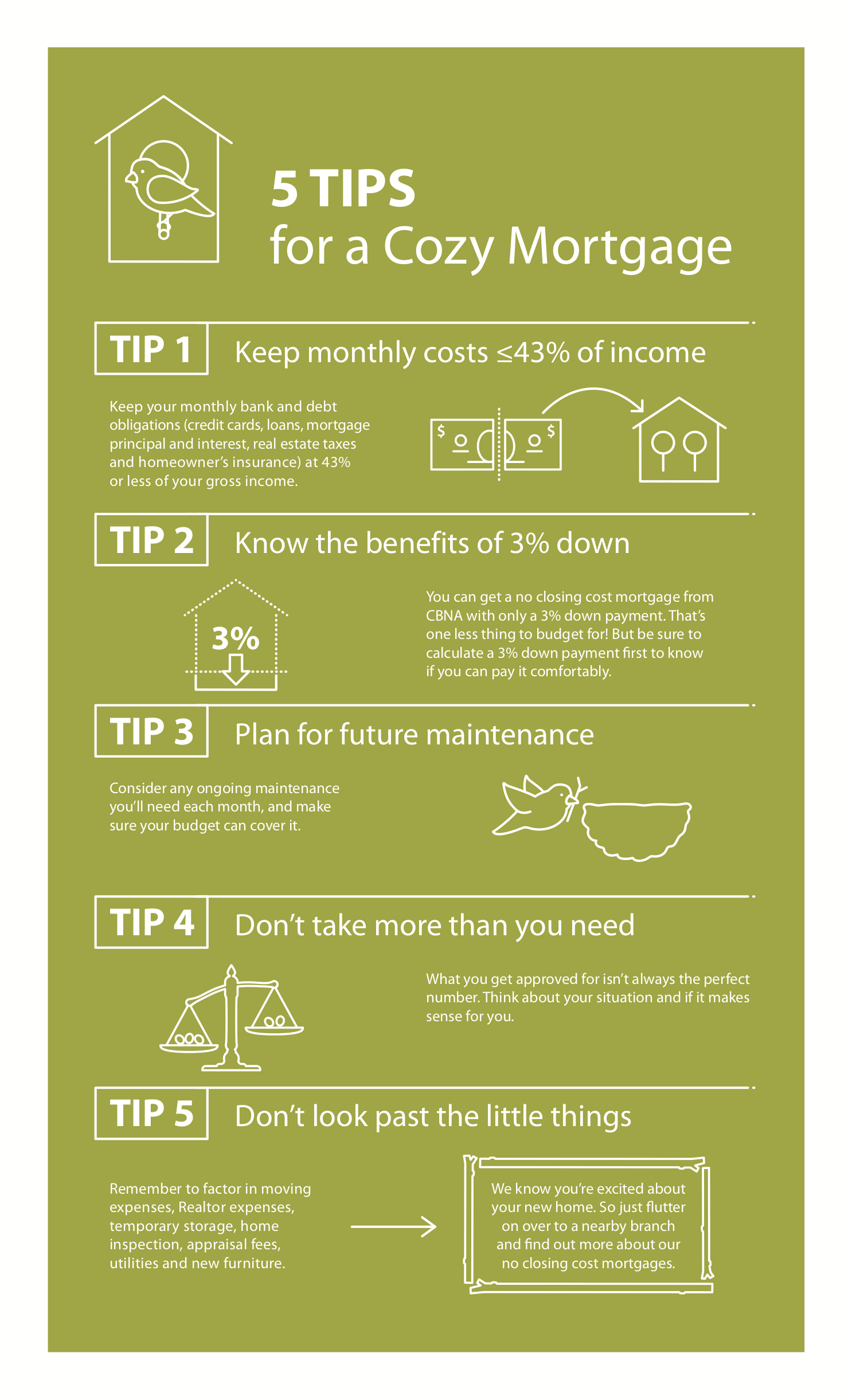 5 Tips for a Cozy Mortgage Infographic