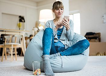 girl in beanbag chair