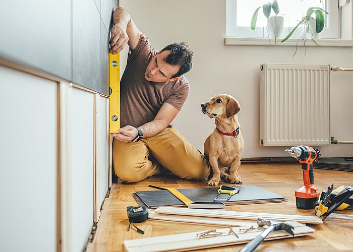 Man Using Spirit Level on Wall with Dog