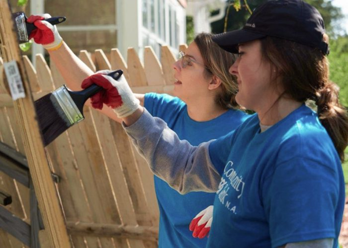 Women Painting Fence