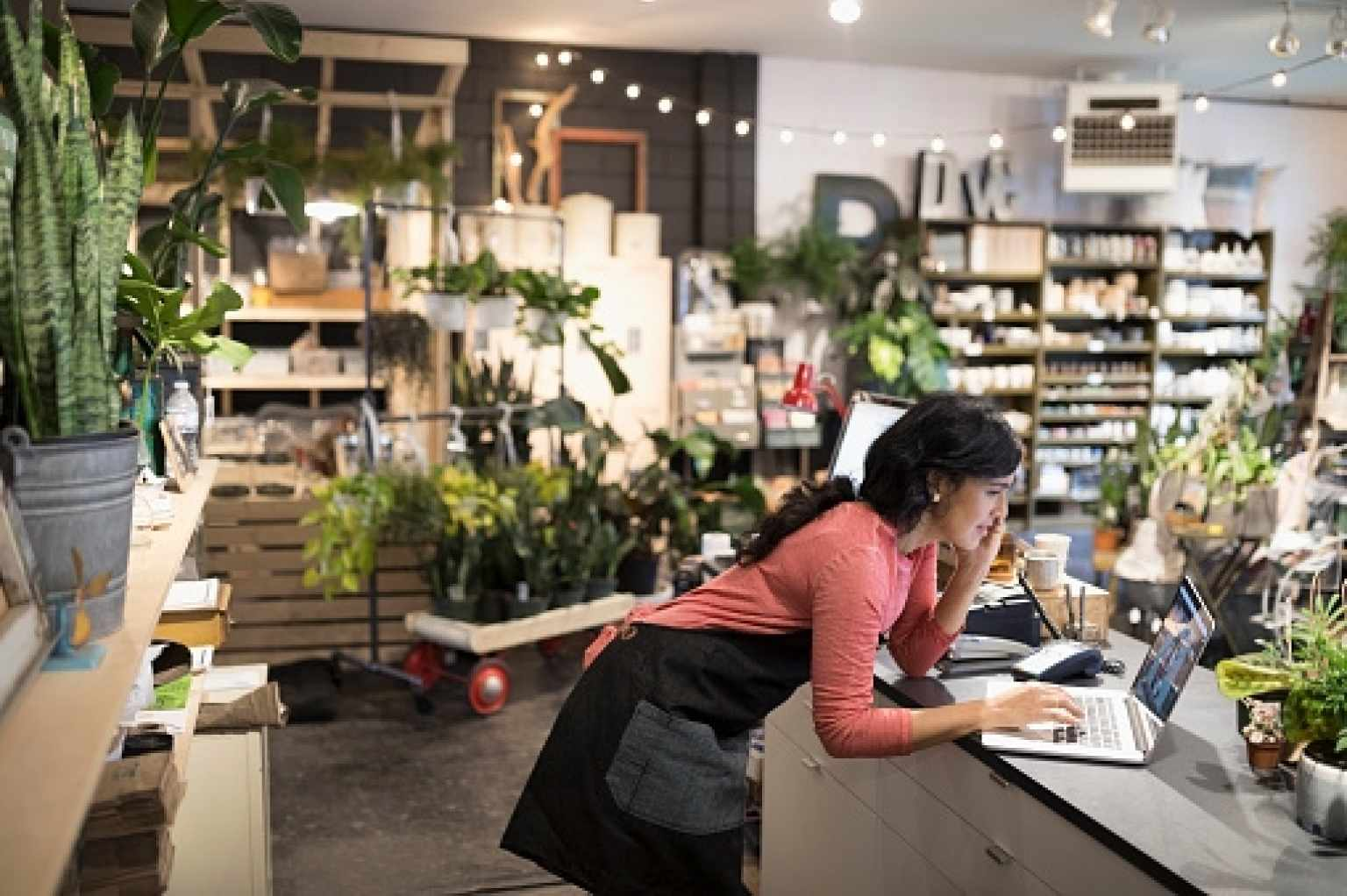 Woman on Computer in Plant Shop