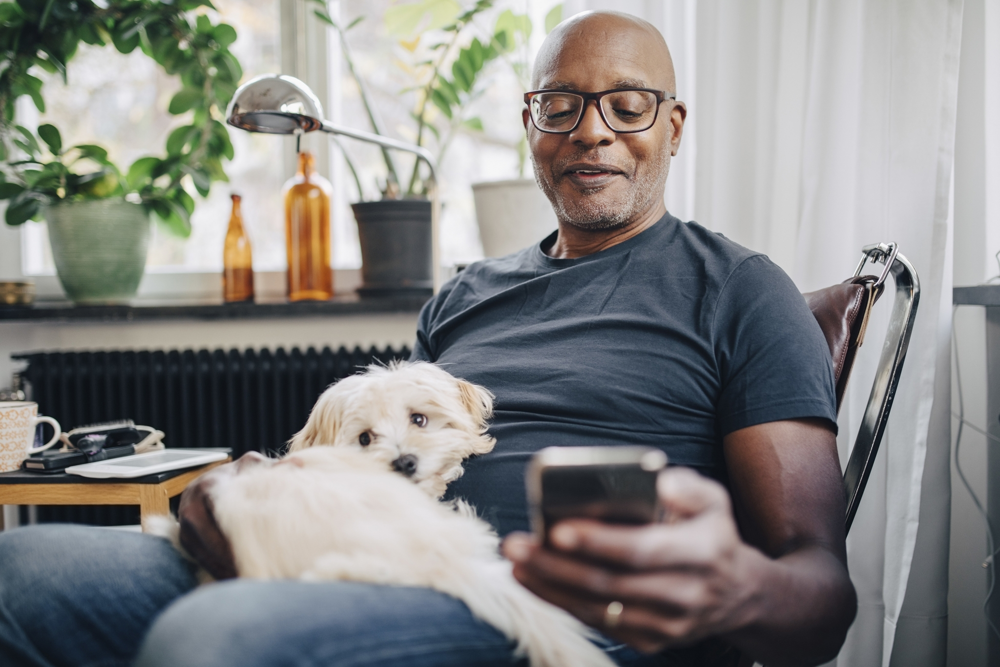Man with Dog on Phone