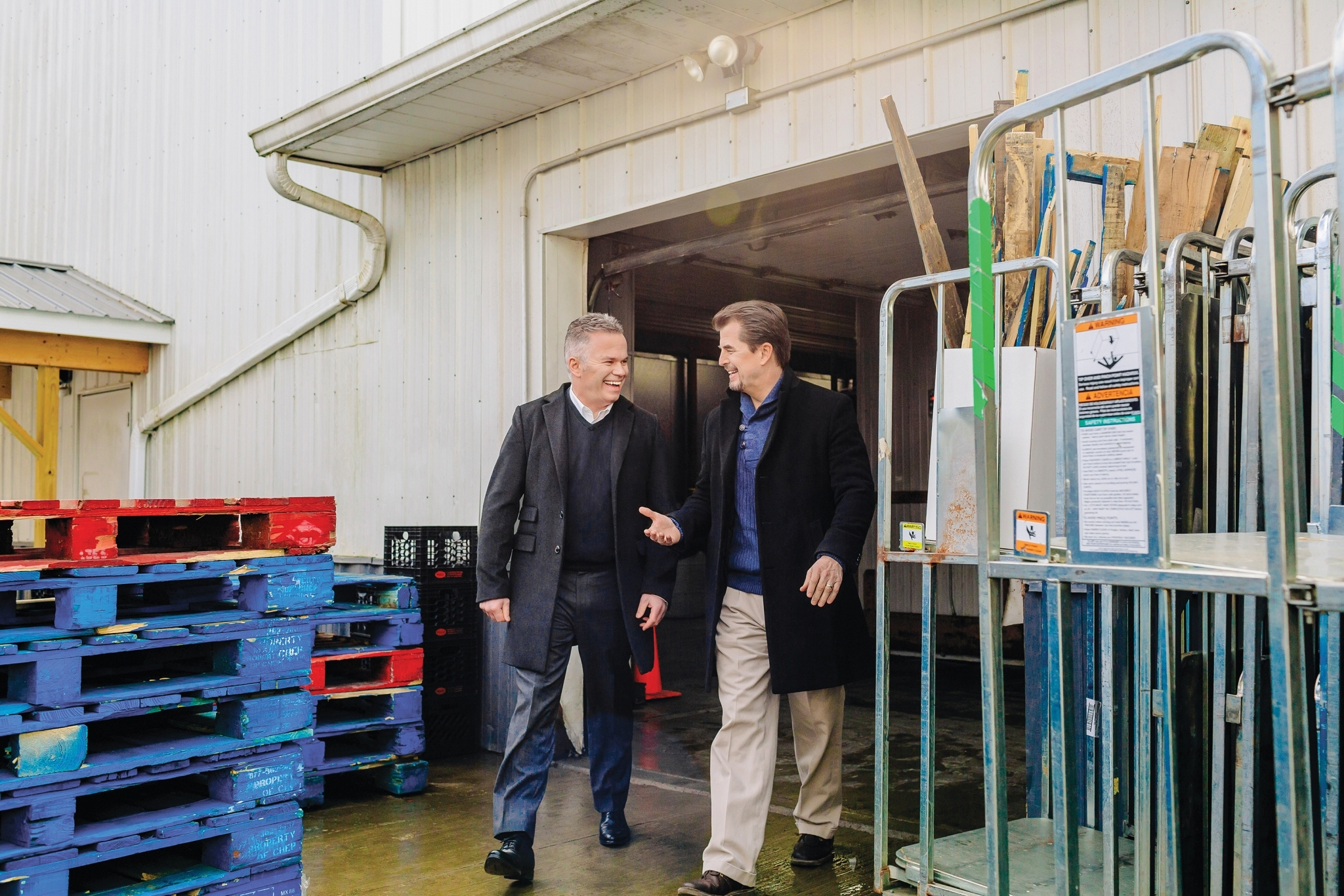 Men Walking Out of Garage